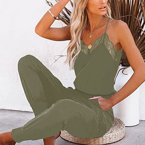 Summer Lace Halter Army Green  Jumpsuits