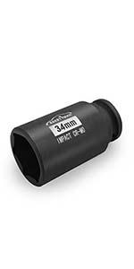 "1/2"" Drive x 34 mm Deep 6 PT Impact Socket/Spindle Axle Nut Impact Socket Set"