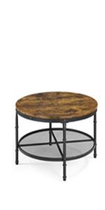 Rustic Round Coffee Table with Iron Mesh Storage Shelf