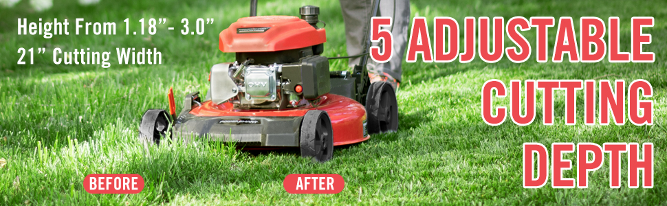 """grass mowing height adjustable 1.18"""" to 3"""""""