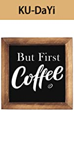 But First Coffee Framed Block Sign 7 x 7 inches Rustic