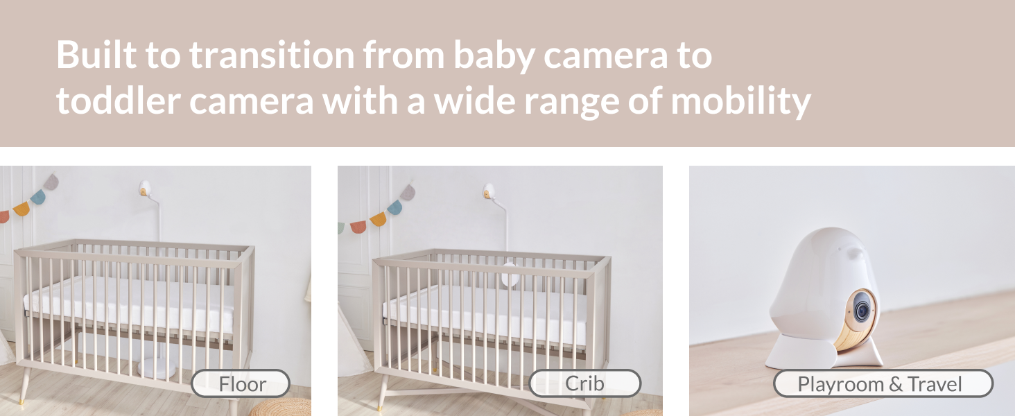 Built to transition from baby camera to toddler camera with a wide range of mobility