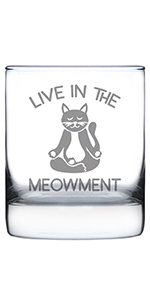 Text says Live in the Meowment, with design of a zen kitten sitting cross-legged and meditating.