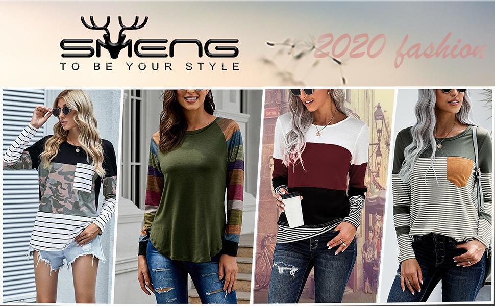 Ladies Long Sleeve Fashion T Shirt Striped Crewneck