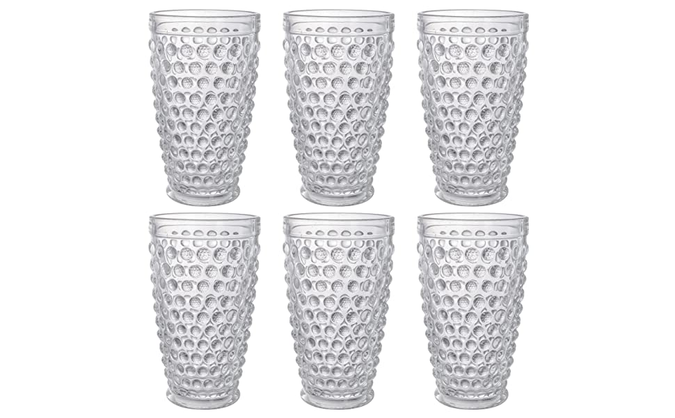 Lawei Set of 6 Hobnail Glasses Tumbler Glass Genuine Ro Oz 12 ...