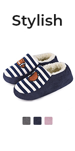 Boys Girls Comfy Cotton Knit House Slippers
