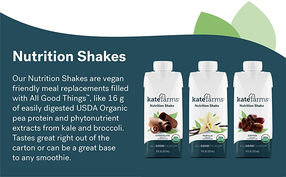 Meal replacement formula made with organic pea protein. Drink out of the carton or add to smoothies
