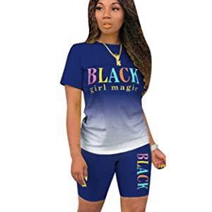 2 Piece Outfits Gradient Short Sleeve T-shirts