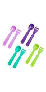 purple lime green aqua amethyst spoon and fork utensil set