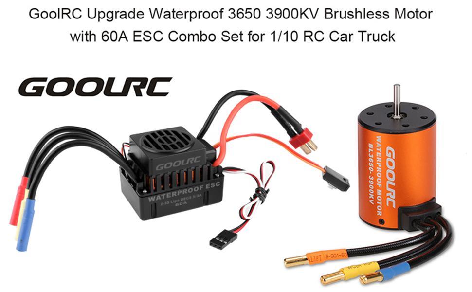 Waterproof 3650 4370KV Brushless Motor 60A ESC for 1:10 RC Car Truck set