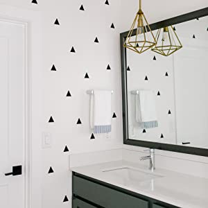 Modern Maxwell triangle wall decals in bathroom