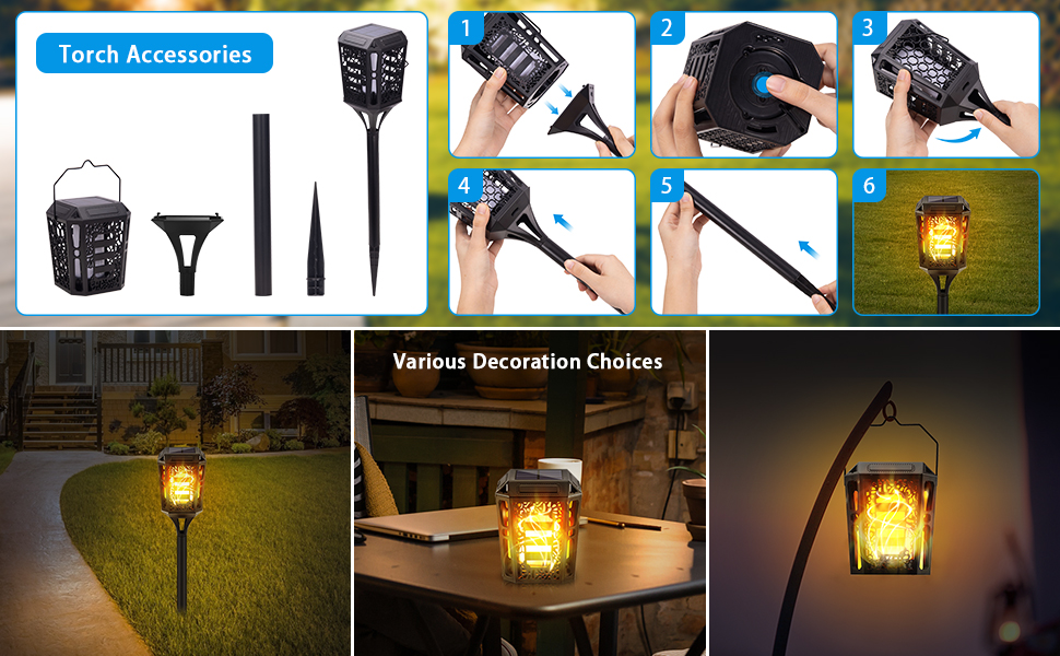 solar torch light with flckering flame