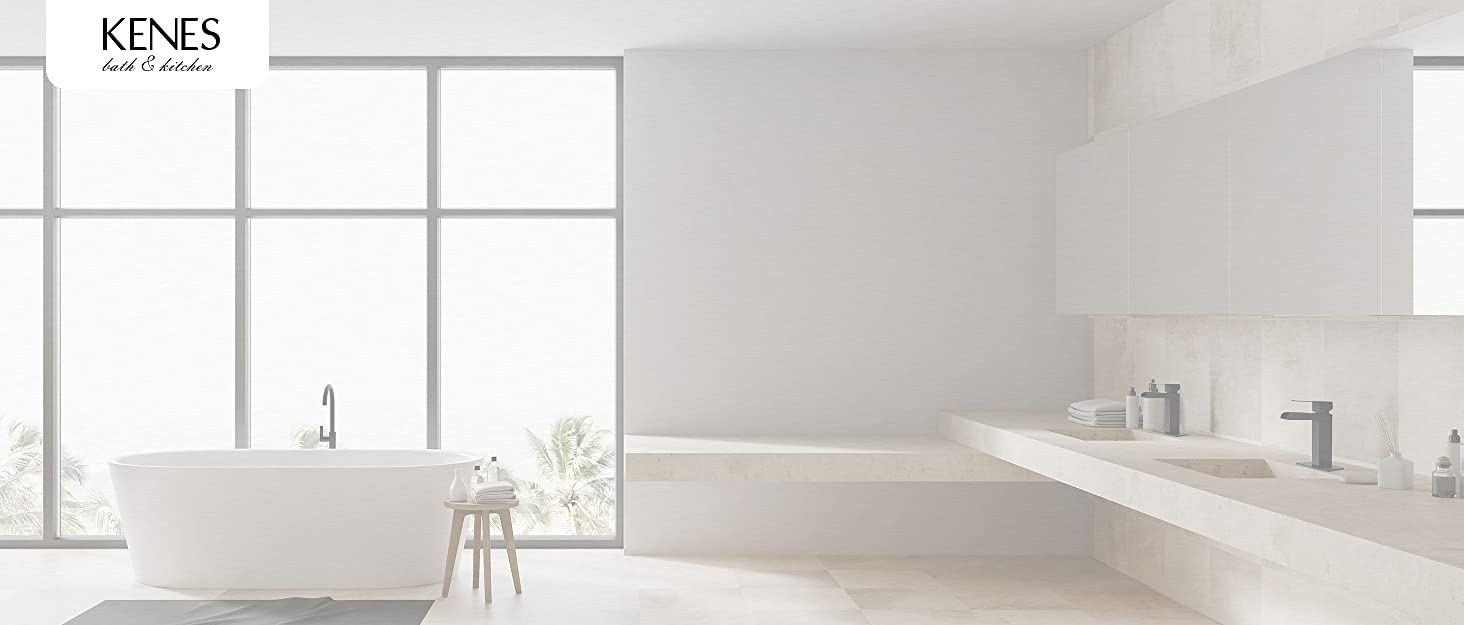 KENES Waterfall Bathroom Faucet, Single Handle Black Bathroom Sink, Pop Up Drain and Supply Hoses