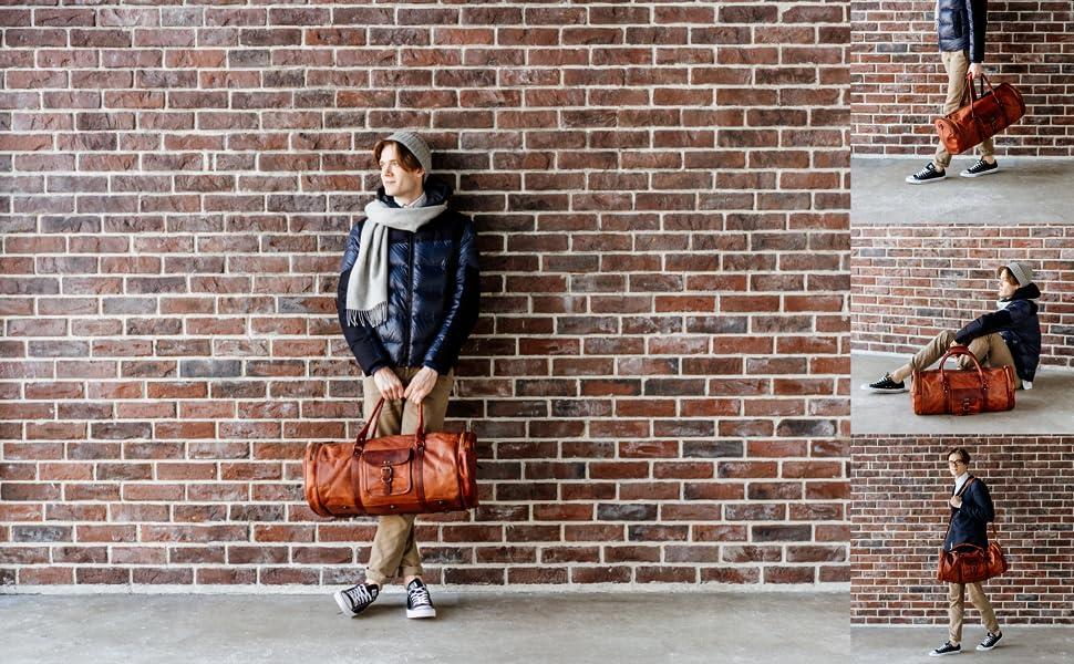 Berliner Bags Vintage Leather Travel Bag Texas