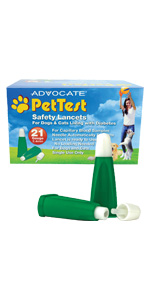 PetTest Safety Lancets Pricker Testing Blood Glucose Diabetic 21G  Lancetas for Dogs and Cats Pets