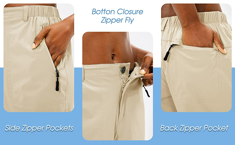 womens hiking shorts with zipper pockets