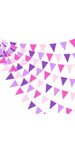 Rose Pink Purple Pennant Banner Fabric Triangle Flag Cotton Bunting Garland