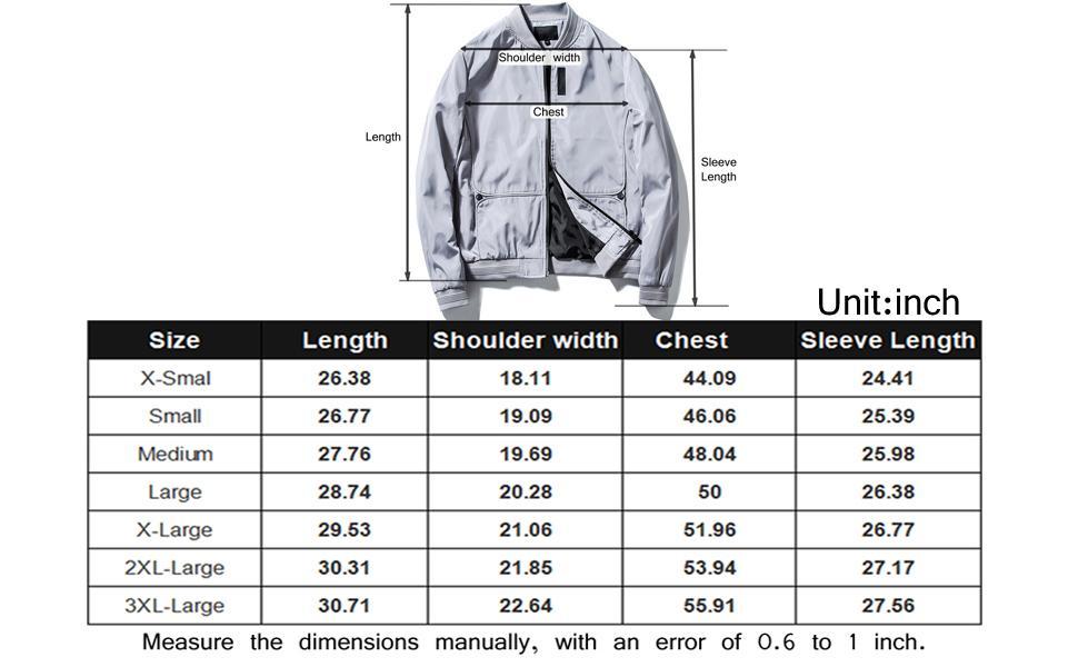 Bomber jacket men size chart