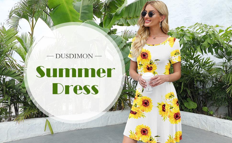 DUSDIMON Women's Summer Casual Dresses