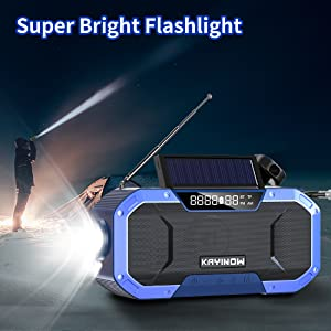 Waterproof Emergency Hand Crank Solar Flashlight Cell Phone Charger wind up Survival powered backup