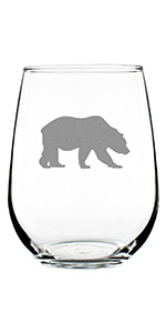 Bear silhouette design hand engraved onto a stemless wine glass.