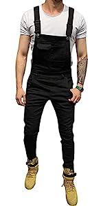 Denim Workwear Fashion Slim Fit Dungaree Jeans Jumpsuits Mens Slim Patch Pocket Denim Bib Overalls