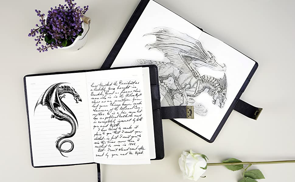 Dragon Leather Journal Hardcover Notebook Locked Refillable c drawing