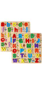 2 Pack Chunky Wooden Peg Board Alphabet Puzzles