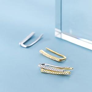 Bar crawler earrings cuff climber earrings for women teens curved bar earrings wrap