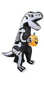 6 Foot Tall Halloween Inflatable Skeleton Dinosaur Tyrannosaurus T-Rex with Pumpkin