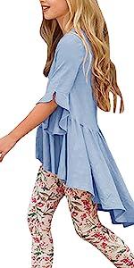 Girls Cute blouse Fall Ruffle Tunic Tops High Low Slim Blouses Tee shirts