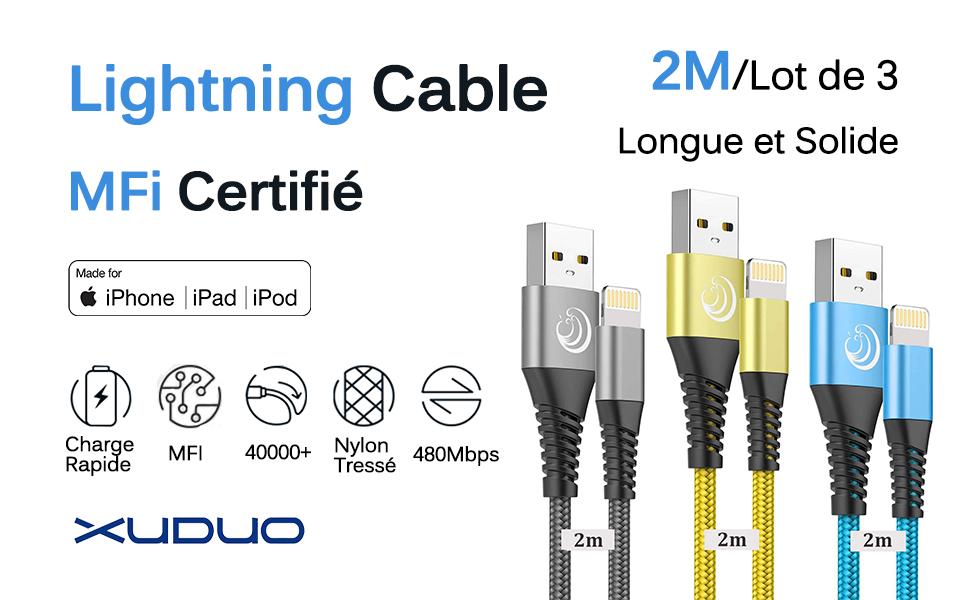 Câble iPhone Chargeur Cable  [2m/Lot de 3] Lightning Cable MFi Certifié