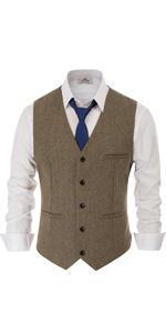 mens british tweed vest slim fit western herringbone wool v neck suit waistcoat dress vests for men