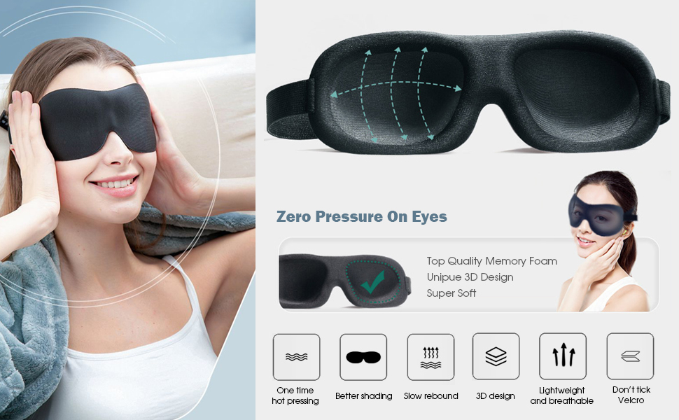Sleeping Eye Mask for Women Men, Contoured Cup Night Blindfold