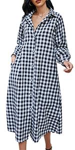 plaid button down shirt maxi dresses