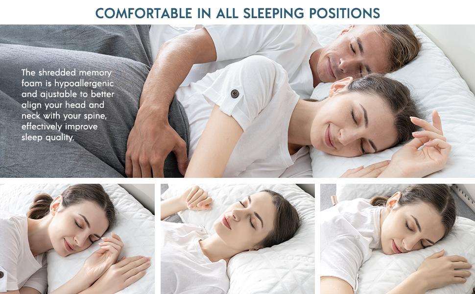 shredded memory foam pillow for all positions