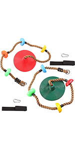 2 Climbing Rope Tree Swing with Platforms and Disc Swings Seats Green and Red