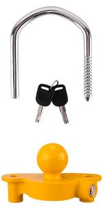 Universal trailer hitch lock  coupler lock tongue lock for trailer security with 2 Keys yellow