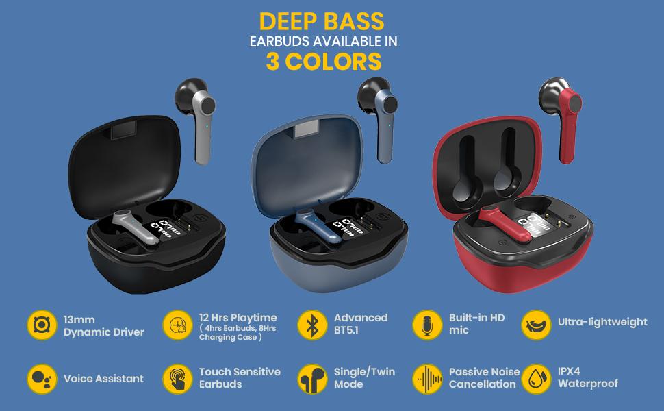 pTron Basspods 281 TWS Bluetooth Earphones
