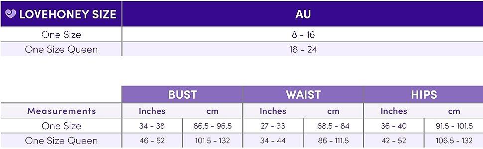 AU One size chart