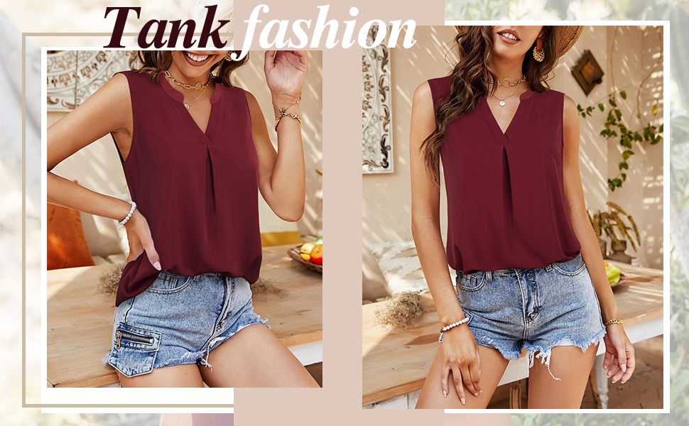 beach stylish loose casual v neck pleated sleeveless cami tank top club prime day blouse shirt vest