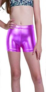 The girls  Gymnastics metallic shorts