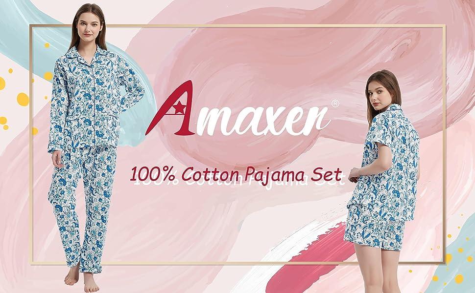 women 100% cotton pajama set short amp; long sleeve soft fabric