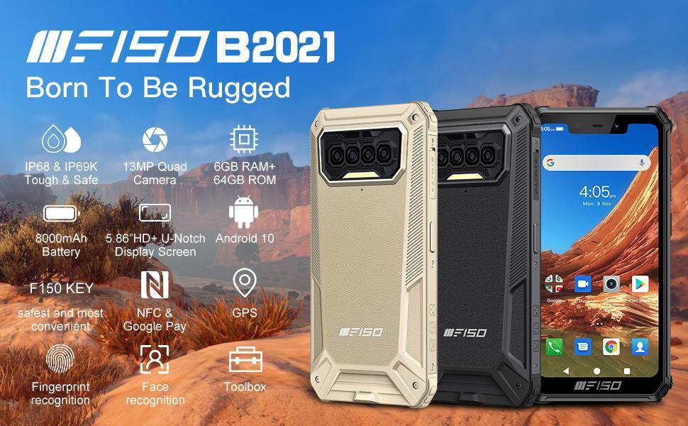 F150 Rugged smartphone, big battery 8000mAh,6GB+64GB, IP68/IP69K cell phone