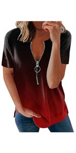Summer Tops for Women Short Sleeve with Zip