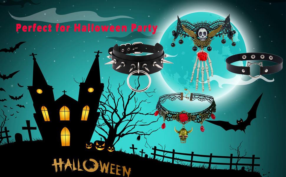 black choker necklace leather choker gothic choker studded choker goth choker Halloween choker