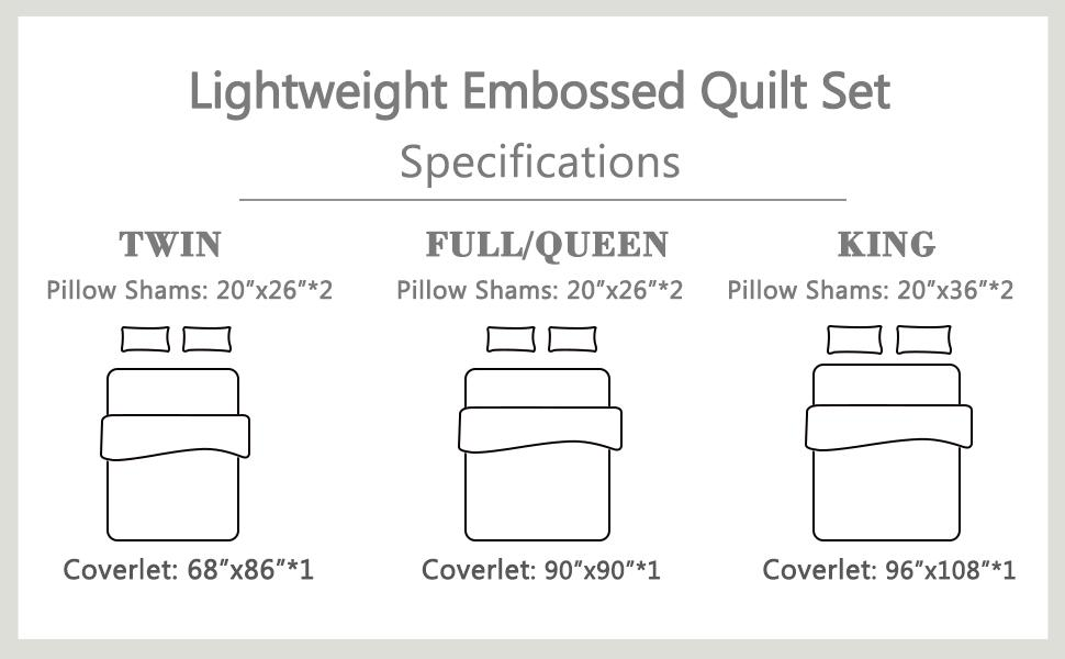 embossed quilt size
