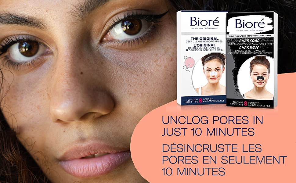 Bioré Pore Strips blackhead removal Unclogs pores in just 10 minutes for clearer smoother skin