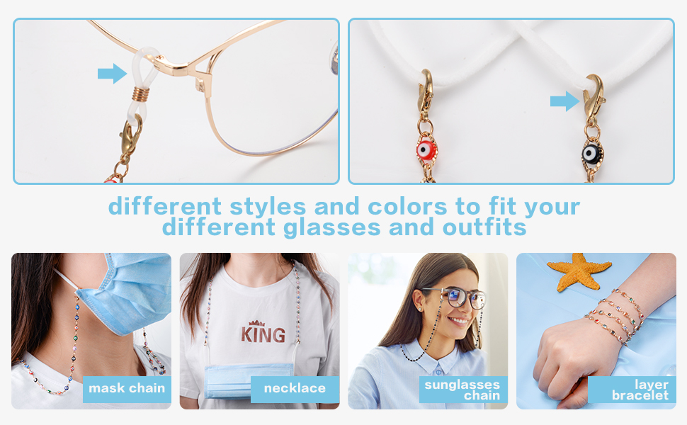 Hanging Chain Link Necklace Set Anti-Lost Around Neck Sunglasses Chain