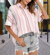 Womens Summer Tops V Neck Short Sleeve Shirts Blouses Tunic